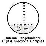 Skala pomaga przy oszacowaniu odległości nakierowywania na obiekty. Kompas umożliwia dokładny odczyt przez lornetkę podczas obserwacji.