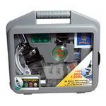 Ao conteúdo do pacote inclui-se uma maleta de transporte prática para o microscópio e acessórios.