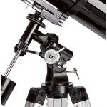 La monture équatoriale EQ-2. Seul ce type de monture permet un suivi exact de l'objet céleste observé. Grâce aux broches flexibles bien pratiques, vous aurez toujours l'objet au centre du champ visuel.