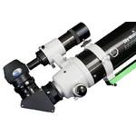 Representación detallada de ajuste fino tubo telescópico de Crayford con espejo cenital y adaptador de ocular así como telescopio buscador.
