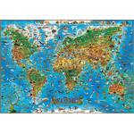 Stellanova Mapas infantiles Mapa ilustrado del mundo animal Dino