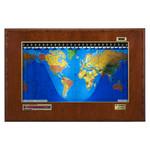 Geochron Boardroom model, in echt kersenhout, met goudkleurige sierlijst