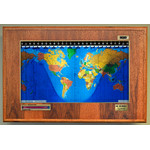 Geochron Boardroom model in real hickory veneer gold bordered design