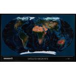 Columbus Mapamundi satelital político TWKGF2520BL, formato grande, compatible con TING, con listel