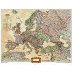 National Geographic Mapa de Europa político, grande, de diseño de antiguedad, con recubrimiento de protección