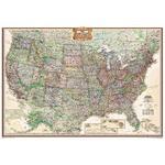 National Geographic Mapa de diseño de antiguedad, Estados Unidos, político, con recubrimiento de protección