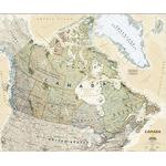 National Geographic antique map of Canada, laminated