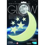 HCM Kinzel Adhesivos de la Luna y estrellas que brillan en la oscuridad Glow Moon and Stars (pequeño)