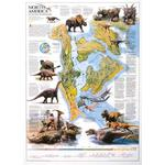 National Geographic Kaart North America in the age of dinosaurs (Engels)