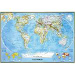National Geographic Wereldkaart Classic political world map, for pinning, framed (silver)
