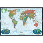 National Geographic Mapa mundial político decorativo, grande e laminado
