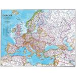 Carte des continents National Geographic L'Europe politiquement grandement