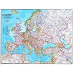 Carte des continents National Geographic L'Europe stratifie politiquement grandement