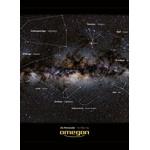 Extrait du poster: les constellations sont d'un côté dotées de lignes imaginaires de constellation et de légendes. De l'autre côté, seule la représentation sans lignes imaginaires et légendes est représentée.