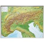 Georelief Regional-Karte Alpenbogen groß, 3D Reliefkarte