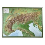 Georelief Alpenbogen groß, 3D Reliefkarte mit Holzrahmen