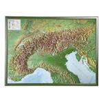 Georelief L'Arc Alpin grand format, carte géographique en relief 3D avec cadre en bois
