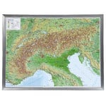 Georelief Mapa magnético Large 3D relief map of the Alps, in aluminium frame (in German)
