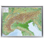 Georelief Regional-Karte Alpenbogen groß, 3D Reliefkarte mit Alu-Rahmen