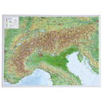 Georelief Regional-Karte Alpenbogen klein, 3D Reliefkarte