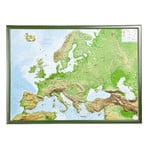 Georelief Kontinent-Karte Europa groß, 3D Reliefkarte mit Holzrahmen