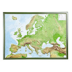 Georelief Large 3D relief map of Europe in wooden frame (in German)