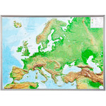 Georelief Large 3D relief map of Europe in aluminium frame (in German)
