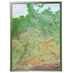 Georelief Deutschland groß, 3D Reliefkarte mit Holzrahmen