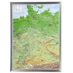 Georelief Deutschland groß, 3D Reliefkarte mit Alu-Rahmen