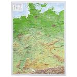 Georelief Landkarte Deutschland klein, 3D Reliefkarte
