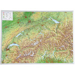 Georelief La Suisse grand format, carte géographique en relief 3D