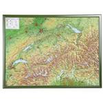 Georelief La Suisse grand format, carte géographique en relief 3D avec cadre en bois