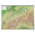 Georelief Harta in relief 3D a Elvetiei, mare, in cadru de aluminiu (in germana)