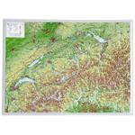 Georelief La Suisse petit format, carte géographique en relief 3D