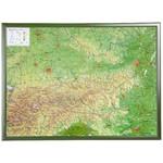 Georelief Landkarte Österreich groß, 3D Reliefkarte mit Holzrahmen