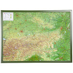 Georelief Österreich groß, 3D Reliefkarte mit Holzrahmen