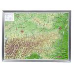 Georelief Austria, carta in rilievo grande con cornice in alluminio (in tedesco)