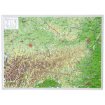 Georelief Harta magnetica 3D relief map of Austria, small (in German)