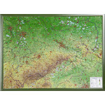 Georelief Large 3D relief map of Saxony, in wooden frame (in German)