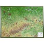 Georelief Regional-Karte Sachsen groß, 3D Reliefkarte mit Holzrahmen
