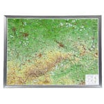 Georelief Carta magnética Large 3D relief map of Saxony in aluminium frame (in German)