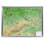 Georelief La Saxe grand format, carte géographique en relief 3D avec cadre en aluminium