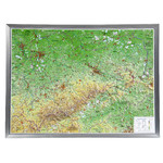 Georelief Large 3D relief map of Saxony in aluminium frame (in German)