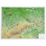 Georelief Regional-Karte Sachsen klein, 3D Reliefkarte