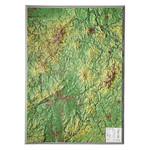 Georelief Regional-Karte Hessen groß, 3D Reliefkarte