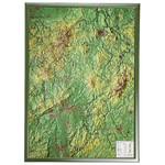 Georelief Regional-Karte Hessen groß, 3D Reliefkarte mit Holzrahmen