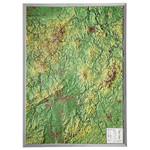 Georelief Hessen groß, 3D Reliefkarte mit Alu-Rahmen