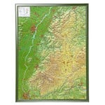 Georelief La Forêt Noire grand format, carte géographique en relief 3D avec cadre en bois