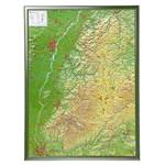 Georelief Regional-Karte Schwarzwald groß, 3D Reliefkarte mit Holzrahmen
