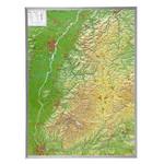 Georelief Foresta Nera, carta in rilievo grande con cornice in alluminio (in tedesco)